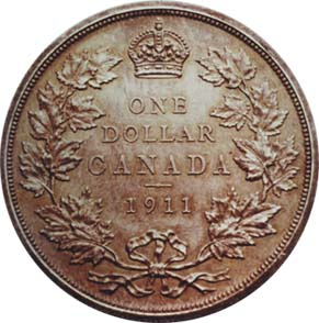 Rare 1911 Canadian Silver Dollar Reverse